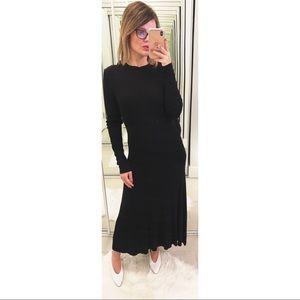 Enza Costa Open Tie Back Rib Knit Dress in Black